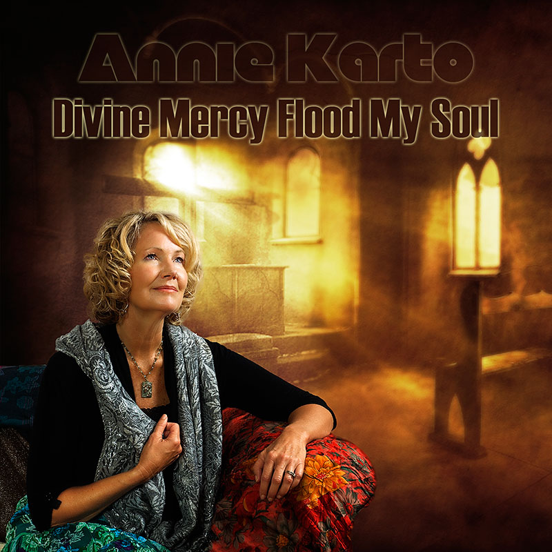 Compact Disc Case cover for Divine Mercy Flood My Soul by Catholic Singer and Songwriter, Annie Karto.